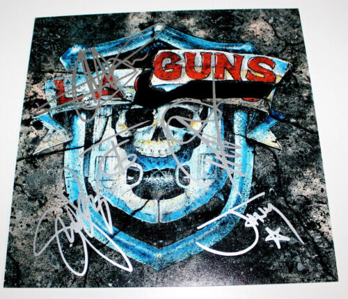 L.A. GUNS BAND SIGNED AUTHENTIC THE MISSING PEACE 12X12 ALBUM FLAT PHOTO COA X5