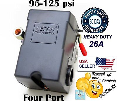 Pressure Switch For Air Compressor Heavy Duty 26a 90-125 Psi Four Port Lefoo