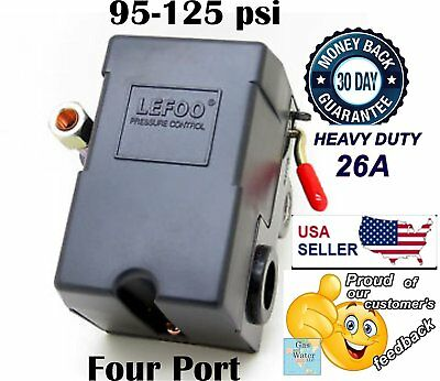 Pressure Switch Control Valve Air Compressor 90-125psi 4 Port Heavy Duty 26 Amp