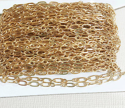 32ft spool of Light Gold plated Long and Short chain, bulk  unfinished  chain