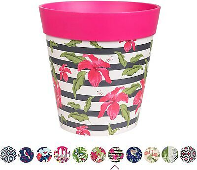 Hum Flowerpots, bright pink hibiscus stripe plant pot, outdoor/indoor planter...