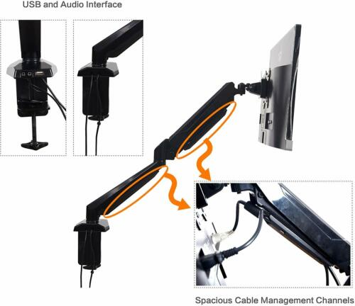 """Computer Monitor Stand,Adjustable Lift Engine Arm Mount for13""""-27""""LCD Screen"""