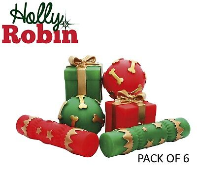 *NEW* HOLLY & ROBIN 6 PACK SQUEAKY VINYL DOG TOYS CHRISTMAS CRACKER BALL 39586