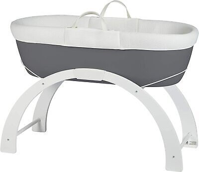 Shnuggle Dreami Moses Basket and Curve Rocking Stand Crib - Slate Grey...