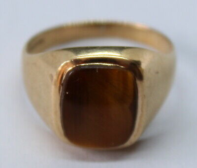 VINTAGE 9CT YELLOW GOLD SIGNET RING WITH TIGER EYE STONE SIZE R 1/2
