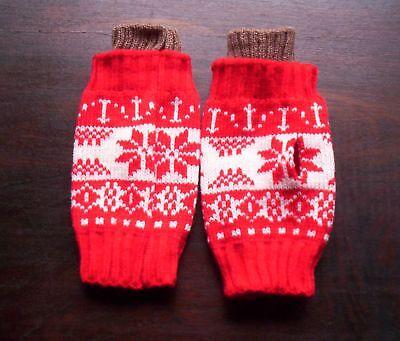 schöne warme Handstulpen Armstulpen Stulpen Winter weihnachtliches Design rot