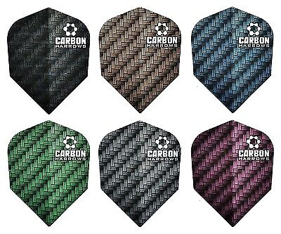 6 New Sets Harrows Carbon 100 Micron Standard Dart Flights – 18 Flights Total