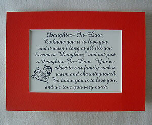 Charming DAUGHTER IN LAW Warm Touch LOVE YOU VERY MUCH Family verses poem plaque