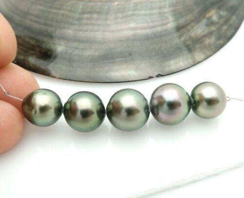 5pc AA+ RARE RW BLACK SILVER PEACOCK 9.6-11mm TAHITIAN CULTURED PEARLS 7.7gram