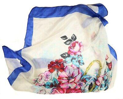 Vintage Scarf Styles -1920s to 1960s Vintage Blue, White & Floral Silk Scarf,Headscarf,Bandana, Kerchief D - #42 $15.57 AT vintagedancer.com