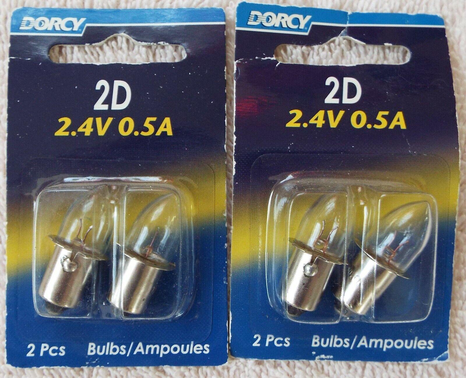 Dorcy 2D Bulbs 2.4V 0.5A 41-1002 Two packs of 2 bulbs