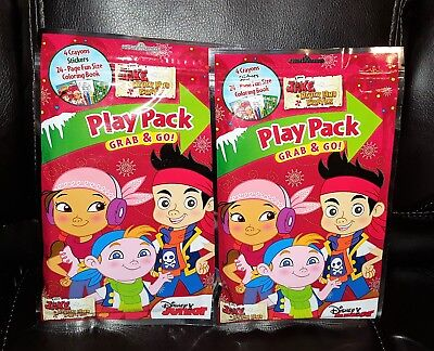 - Lot of 2 Disney Jake & Never Land Pirates Play Pack Grab & Go Coloring Kit - New