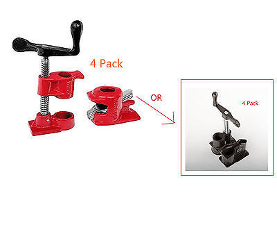 4 Pack  34 Wood Gluing Pipe Clamp Set Heavy Duty Pro Woodworking Cast Iron