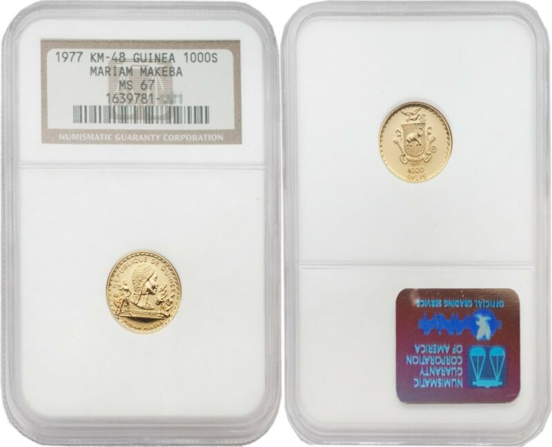 Guinea 1977 Mariam Makeba 1,000 Syli Gold NGC MS-67