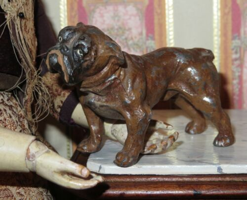 ADORABLE ANTIQUE GERMAN MINIATURE PAINTED METAL BULL DOG FOR DOLL COMPANION!
