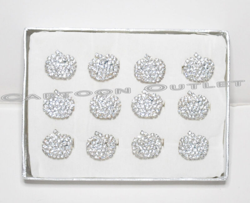 12 RINGS PARTY FAVORS BRIDAL SHOWERS ADJUSTABLE QUINCEANERA SILVER/ RHINESTONES