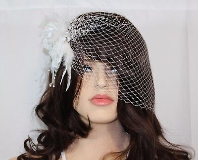 New Wedding Bridal Birdcage Netting Face Veil White Feather Flower With Comb
