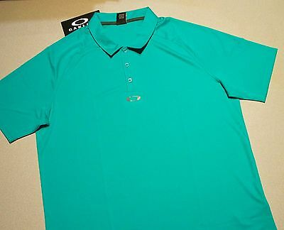 OAKLEY POLO GOLF SHIRT LAKE BLUE TEAL MENS XL REG FIT 433536 SMOOTH (Lake Golf Shirt)