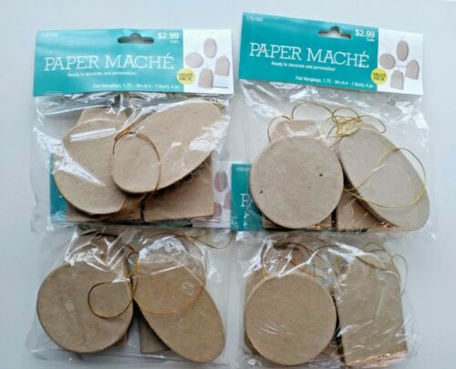 4 Packs of Paper Mache Tags DIY Tree Hanging Ornaments or Tags 4 pcs Per Pack