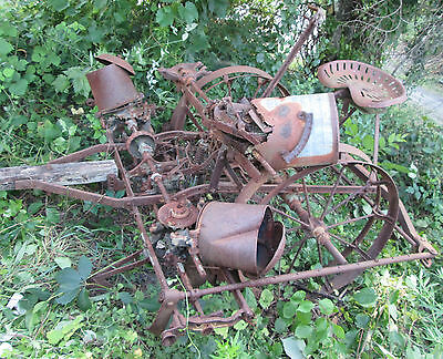 Antique Farm 2 Row Horse Drawn Iron Wheel Corn Planter