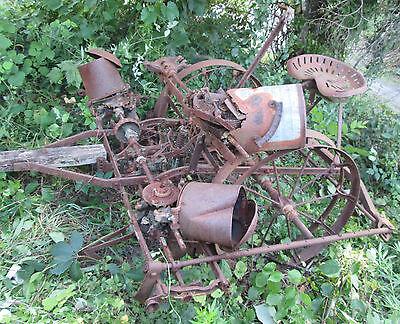 Antique Farm 2 Row Horse Drawn Iron Wheel Corn Planter