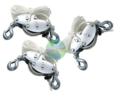 3pc 2 Ton Poly Rope Hoist Pulley Wheel Block And Tackle Puller Lift Tools Hanger