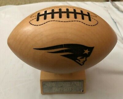 NIB NEW ENGLAND PATRIOTS Mini Wooden Football and stand NFL New in Box GBOW wood Stand Wooden Football