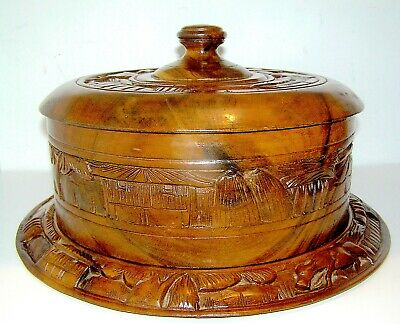 Antique Hand Carved Plate with Cover in Mahogany
