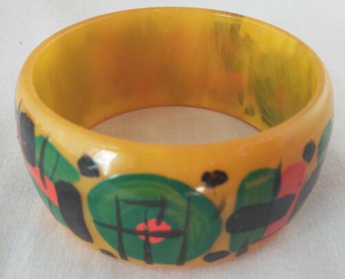 Vintage Wide Abstract Painted Butterscotch Bakelite Bangle Bracelet
