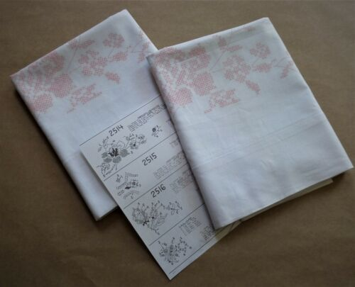 Pair (2) Poly/Cotton Pillowcases - Stamped Cross Stitch Embroidery - #2514 ROSES