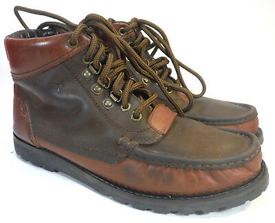 Mens FRYE brown 2 tone oiled leather chukka lug sole ankle boots 9.5 $328! Brown Mens Lug Sole Boot