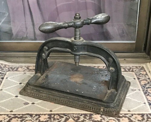 """Antique 19th Century Cast Iron Library Book Press #5 18.25""""Lx11.5""""W, Over 50 lbs"""