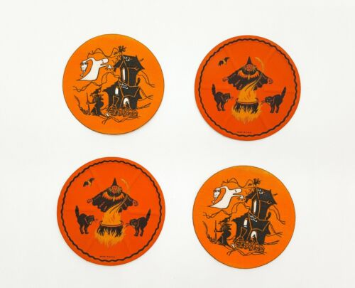 Vintage Halloween x 4 RARE Witch + Haunted House Embossed Rounds 1930s - 1940s