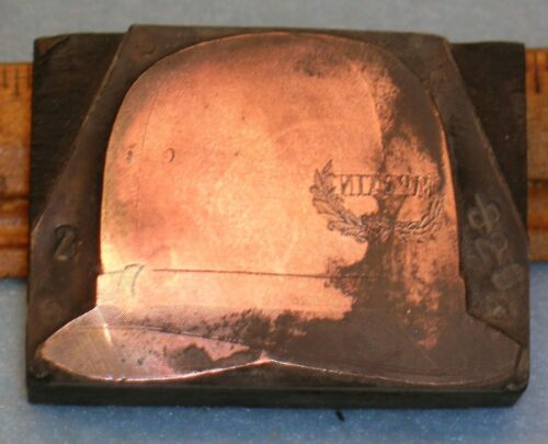 Antique POLICE CAPTAIN HAT Copper Printing Block * MC Lilley G134