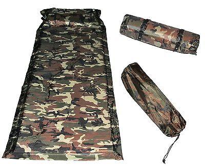 Camping Mat Matrress Outdoor Sleeping Pad Self-Inflating Polyester Army Green