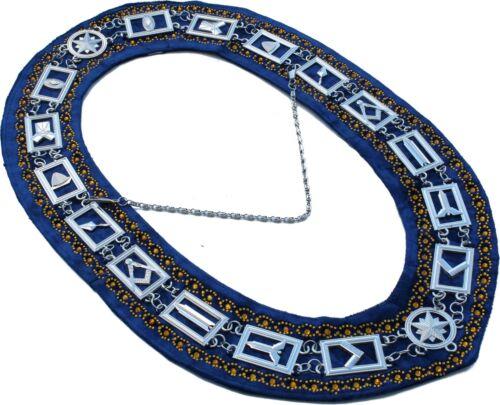 Masonic Regalia MASTER MASON RHINESTONE SILVER Chain BLUE COLLAR DMR-400SBRGRS