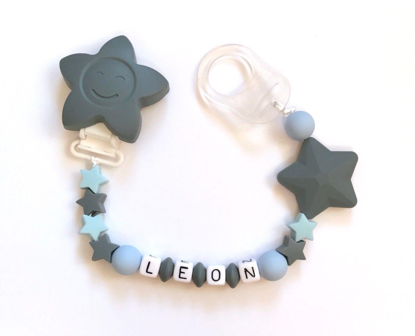 Schnullerkette Nuckelkette Beißkette mit Namen grau hellblau Silikon Sterne
