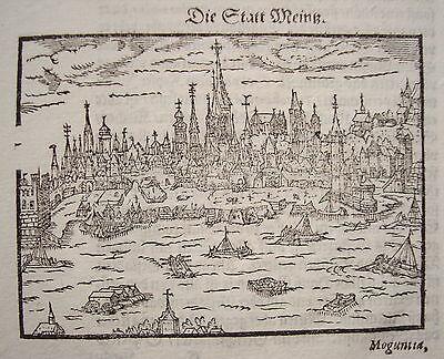 Mainz  Rheinland-Pfalz   sehr seltener echter alter Holzschnitt von Saur 1610