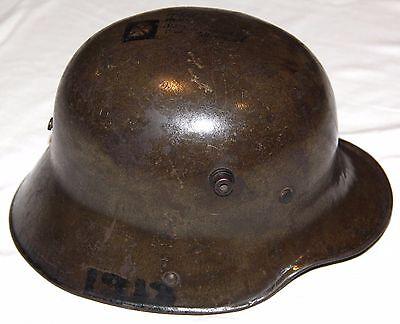 ORIGINAL WWI GERMAN M-1916 STEEL HELMET W/ LINER & DOUGHBOY ART