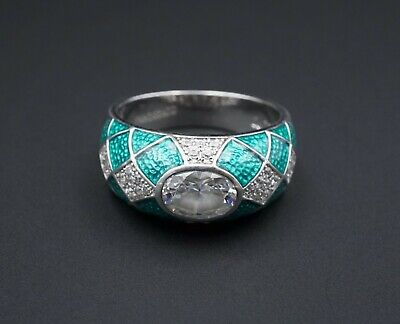 Trendy Hidalgo Sterling Silver Green Guilloche Enamel CZ Dome Ring Size 9 RS2612