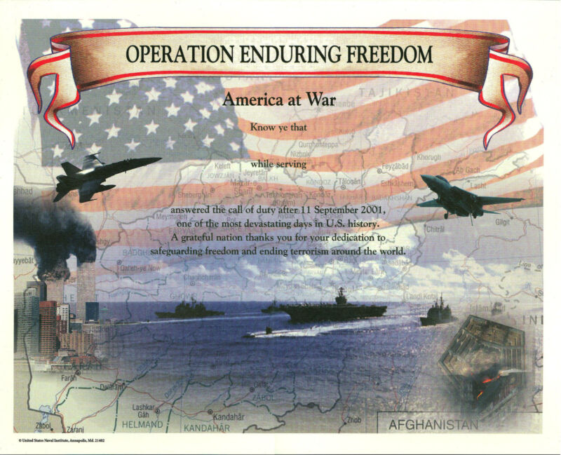 Operation Enduring Freedom Certificate blank mint US Naval Institute Afghanistan