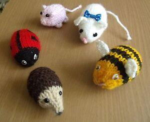 Toy Hedgehog Bee Ladybird Mouse & Pig Knitting pattern & complete kit - REDUCED