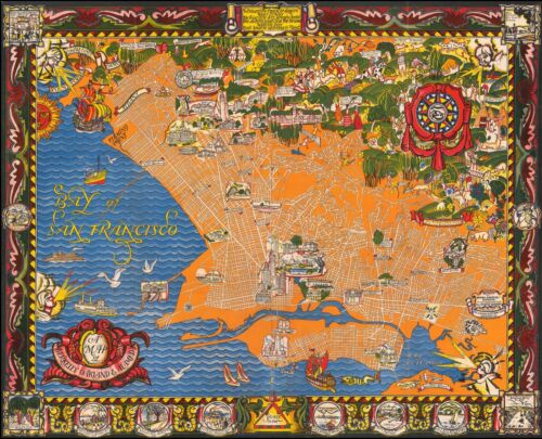 Berkeley Oakland Alameda East Bay 1930 pictorial map POSTER 50325