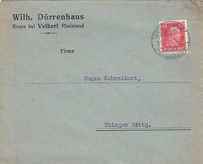 KRONE VELBERT, Briefumschlag 1928, Wilh. Dörrenhaus