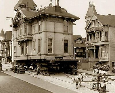 1908 San Francisco MOVING A HOUSE WITH HORSES Photo  (208-G)
