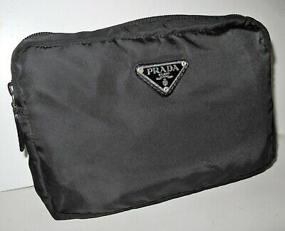 "PRADA Vintage Black Nylon Medium Size Cosmetic Make up Bag 8"" x 5"" x 1.75"""