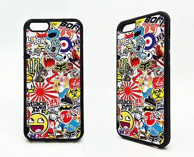 Cartoon Sticker Bomb Cars Racing Art Rubber Case Cover Apple iPhone - Art Apple Iphone