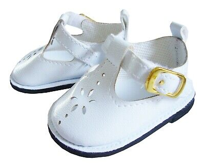 White T-strap Doll Shoes - White T-Strap Shoes for Bitty Baby Doll Clothes Sew Beautiful