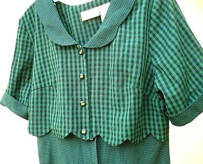 ST PATRICKS DAY GREEN VTG 90S SZ L IRISH PLAID BUTTON DOWN LONG WOMEN VEST DRESS