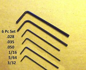 Hex Allen Wrench Short Arm Set- .028, .035, .050, 1/16, 5/64, 3/32 Free Ship!!